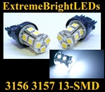 TWO Xenon HID WHITE 13-SMD LED 3156 3157 Signal Tail Brake Backup Lights