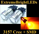 TWO Orange AMBER 3156 3157 Cree Q5 + 12-SMD Turn Signal Parking Light Bulbs