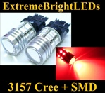 TWO Brilliant RED 3156 3157 Cree Q5 + 12-SMD Turn Signal Brake Stop Parking Light Bulbs
