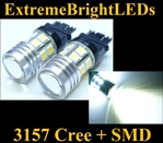 TWO Xenon HID WHITE 3156 3157 Cree Q5 + 12-SMD Backup Reverse Parking Turn Signal Brake Stop Light Bulbs
