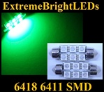 TWO GREEN 18-SMD 6418 6411 39mm Festoon LED bulbs