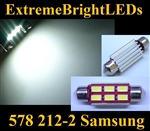 "ONE Xenon HID WHITE Samsung 5730 Error Free 41mm 42mm 1.75"" Festoon 578 211-2 212-2 214-2 SMD LED Light Bulb"