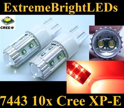 TWO Brilliant Red 50W High Power 10x Cree XP-E 7440 7443 Backup Reverse Turn Signal Brake Stop Parking Light Bulbs