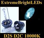 TWO 10000K Light BLUE D2S D2R D2C HID bulbs w/ metal Claw for factory HID equipped cars