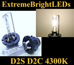 TWO 4300K D2S D2R D2C HID Light bulbs w/ metal Claw for factory HID equipped cars