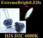 TWO 6000K Pure WHITE D2S D2R D2C HID bulbs for factory HID equipped cars