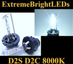 TWO 8000K WHITE with BLUE tint D2S D2R D2C HID bulbs w/ metal Claw for factory HID equipped cars