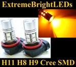 TWO Orange Amber H11 H8 H9 Cree Q5 + 12-SMD LED Fog Driving DRL Lights Bulbs