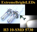 TWO Xenon HID WHITE H3 10-SMD 5730 LED Driving or Fog Lamps Lights bulbs