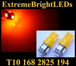 TWO AMBER T10 168 2825 15-SMD SMD LED bulbs