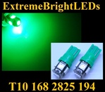 TWO GREEN T10 168 2825 15-SMD SMD LED bulbs
