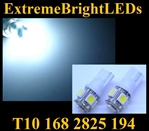 TWO WHITE T10 168 2825 15-SMD SMD LED bulbs