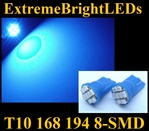 BLUE 8-SMD LED T10 168 2825 194 High Power bulbs