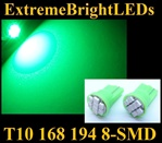 GREEN 8-SMD LED T10 168 2825 194 High Power bulbs