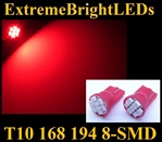 RED 8-SMD LED T10 168 2825 194 High Power bulbs