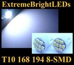 WHITE 8-SMD LED T10 168 2825 194 High Power bulbs