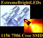 TWO Orange AMBER 1156 7506 Cree Q5 + 12-SMD Turn Signal Parking Light Bulbs