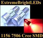 TWO Brilliant RED 1156 7506 Cree Q5 + 12-SMD Turn Signal Parking Light Bulbs