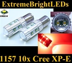 TWO Brilliant Red 50W High Power 1157 2357 10x Cree XP-E Backup Reverse Parking Turn Signal Brake Stop Light Bulbs