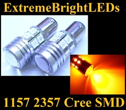 TWO Orange AMBER 1157 2357 Cree Q5 + 12-SMD Turn Signal Parking Light Bulbs