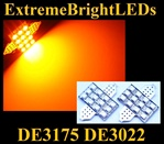 AMBER 12-SMD DE3175 31mm Festoon LED bulbs