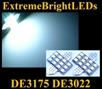 WHITE 12-SMD DE3175 31mm Festoon LED bulbs