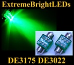 GREEN 6-LED DE3175 31mm Festoon Map Dome Door Trunk LED bulbs