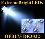 WHITE 6-LED DE3175 31mm Festoon Map Dome Door Trunk LED bulbs
