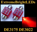 RED 9-LED DE3175 31mm Festoon Map Dome Door Trunk LED bulbs