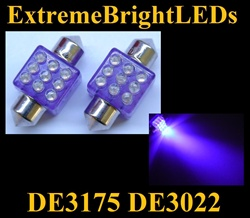 UV 9-LED DE3175 31mm Festoon Map Dome Door Trunk LED bulbs