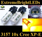 TWO AMBER Orange 50W High Power 3156 3157 10x Cree XP-E Backup Reverse Parking Turn Signal Brake Stop Light Bulbs