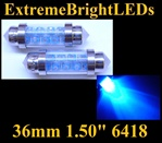 TWO BLUE 9-LED 36mm Festoon 6411 6413 6418 6451 6475 6476 6461