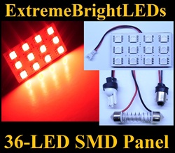ONE Brilliant RED 36-LED SMD Panel fits all interior Light sockets