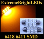 TWO AMBER 18-SMD 6418 6411 39mm Festoon LED bulbs