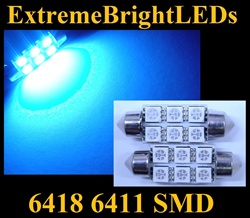 TWO BLUE 18-SMD 6418 6411 39mm Festoon LED bulbs