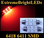 TWO RED 18-SMD 6418 6411 39mm Festoon LED bulbs