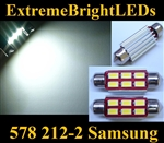 "TWO Xenon HID WHITE Samsung 5730 Error Free 41mm 42mm 1.75"" Festoon 578 211-2 212-2 214-2 SMD LED Light Bulb"