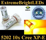 TWO AMBER Orange 50W High Power 5202 H16 5201 10x Cree XP-E LED Fog DRL Light Bulbs