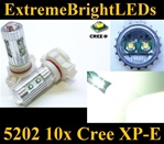 TWO Xenon HID WHITE 50W High Power 5202 H16 5201 10x Cree XP-E LED Fog DRL Light Bulbs