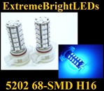 BLUE 5202 H16 5201 68-SMD LED Fog Light Daytime Running Light bulbs