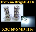 WHITE 5202 H16 5201 68-SMD LED Fog Light Daytime Running Light bulbs