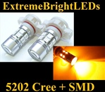 TWO Orange AMBER 5202 H16 5201 7W Cree Q5 + 12-SMD LED Fog DRL Lights Bulbs
