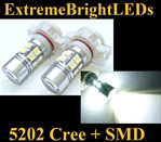 TWO HID WHITE 5202 H16 5201 7W Cree Q5 + 12-SMD LED Fog DRL Lights Bulbs