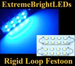 TWO BLUE 42mm 44mm Rigid Loop Festoon 560 561 562 563 564 8-SMD LED Bulbs