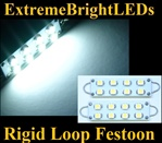 TWO Xenon WHITE 42mm 44mm Rigid Loop Festoon 560 561 562 563 564 8-SMD LED Bulbs
