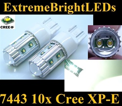 TWO Xenon HID WHITE 50W High Power 10x Cree XP-E 7440 7443 Backup Reverse Turn Signal Brake Stop Parking Light Bulbs