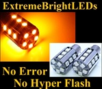 TWO Orange AMBER No Resistor Required No Error No Hyper Flash Canbus Error Free 7507 BAU15s PY21W 20-SMD LED Turn Signal Lights