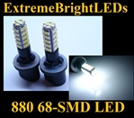 68-SMD Xenon White HID 880 LED Fog Light Bulbs Daytime Running Light Bulbs
