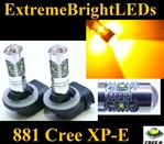TWO AMBER Orange 25W High Power 5 x Cree XP-E 881 LED Fog Lights Bulbs