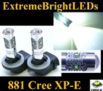 TWO Xenon HID WHITE 25W High Power 5 x Cree XP-E 881 LED Fog Lights Bulbs
